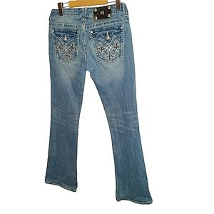 Miss me bling/rhinestone jeans, light wash, boot cut. Size 30